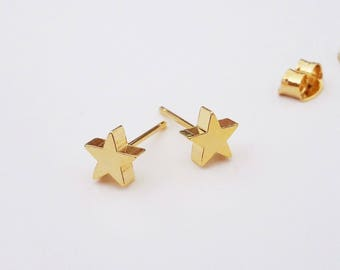f59e5c42c Gold Star Stud Earrings, Rose Gold Star Studs, Star Post Earrings, Dainty Gold  Posts, Minimal Jewelry, Delicate Studs / E527