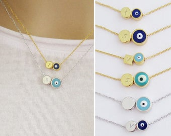 Custom necklace for her Evil eye necklace Initial evil eye jewelry Custom bridesmaid necklace Personalized  gift for mom kem göz / N331