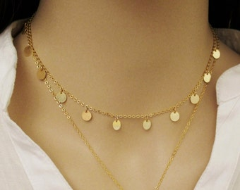 Gold Drop Choker, Gold Disk Choker, Circle Tags Necklace, Coin Necklace, Disk Necklace, Coin Choker, Boho Chic Necklace, / 6mm / N306