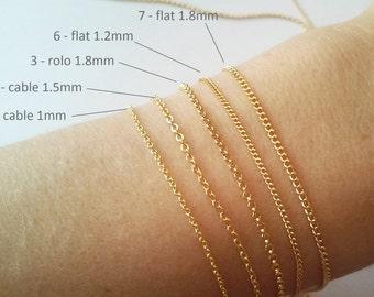 db28ae4f745 Thin Plain Chain Bracelet or Necklace, Basic chain bracelet Necklace Base  Gold, DIY, Bracelet Base, Minimalist, Create a Jewelry / B418