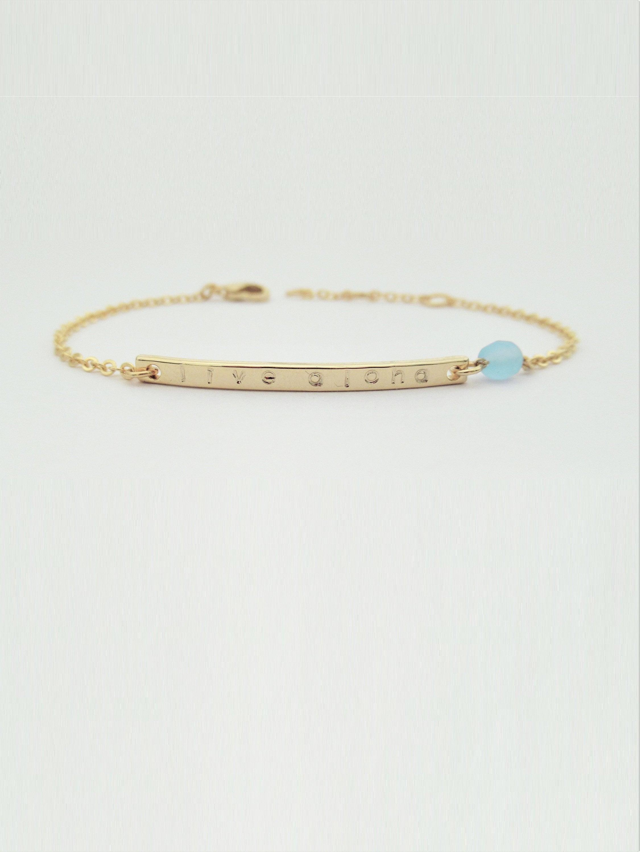 090d819f2c830 March birthstone bracelet, Custom aquamarine jewelry, March birthday gift  for her / B456-03