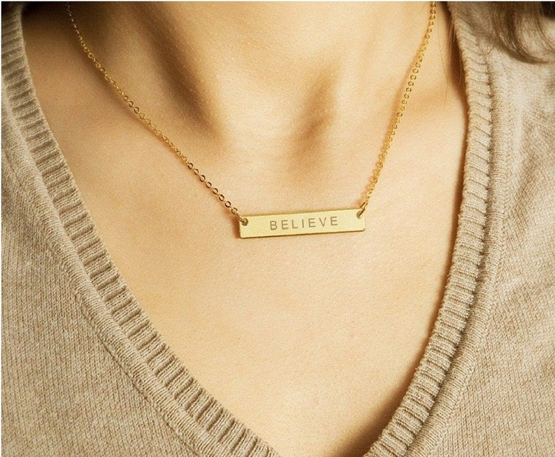 Special Gift for Mom Gold or Silver Custom Mother Necklace Engraved Best Mom Necklace Bar Necklace Monogram Mother Gift  N338