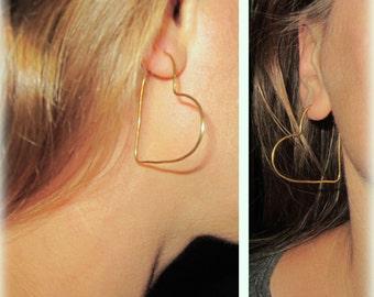 Heart Hoop Earrings, Organic Gold Heart Earrings, Bridesmaid Gift, Wedding, Romantic Jewelry, Love Jewelry, Christmas gift / E510