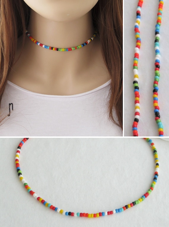 multicolor dainty choker summer jewelry Long boho beaded necklace for women made with colorful seed beads and stones