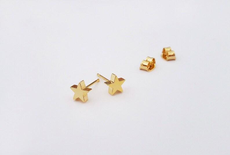 ec86607fa Gold Star Stud Earrings Rose Gold Star Studs Star Post   Etsy