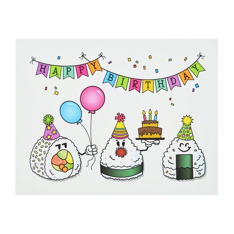 Happy Birthday Cards Note Set Of 5 Sushi