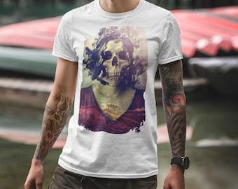 Gothic Skull Men's T-shirt, Skull Art Print Mens T shirt, Sugar Skull Gift For Him, Mens Graphic Tee, Lady Skull Shirt Print By Ali Gulec