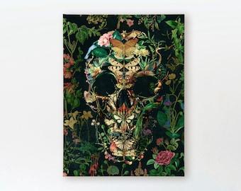 Boho Skull Art Print, Sugar Skull Instant Download Printable Home Decor, Floral Skull Digital Poster Wall Art Gift, Downloadable Gothic Art