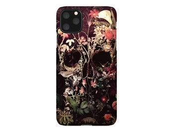 Bloom Skull iPhone 12 Case, Floral Skull iPhone Case, Flower Skull Samsung Case, Sugar Skull Phone Case Gift, Skull Case For iPhone 12 Mini