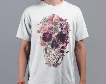 Skull Men's T-shirt, Sugar Skull Art Mens T Shirt, New Skull Art Print Gift For Him, Bella Canvas Printed T Shirt, Gothic Skull Mens Shirt