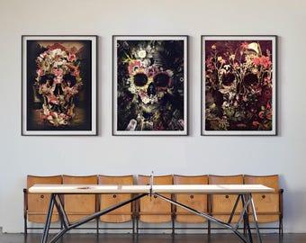 ae1ae9e62 Set Of 3 Skull Prints, Nature Skull Set Home Decor, Flower Skull Poster  Set, Sugar Skull Wall Art Gift, Floral Skull Art Prints By Ali Gulec