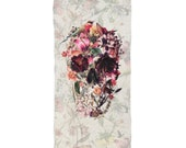 Skull Beach Towel, Boho Sugar Skull Print Soft Beach Towel, Gothic Flower Skull Gift, Floral Skull Art Beach Towel