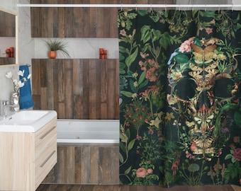 Boho Skull Shower Curtain, Floral Skull Shower Curtain Decor, Gothic Sugar Skull Shower Curtain Home Decor, Flower Skull Art Bathroom Decor