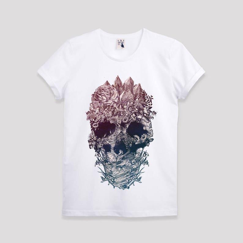 c973dc86e80fb3 Men s Skull T-shirt Flower Skull Print Mens Tshirt