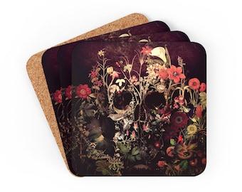 Bloom Skull Coaster Set, Boho Skull Corkwood Coaster Set Gift, Sugar Skull Home Decor Gift, Gothic Style Coaster Set Gift, Flower Skull Gift