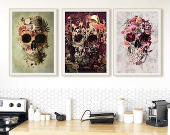 Set Of 3 Skull Art Print, Flower Skull Poster Set Home Decor, Boho Skull Wall Art Gift Poster Set, Instant Download Printable Sugar Skull