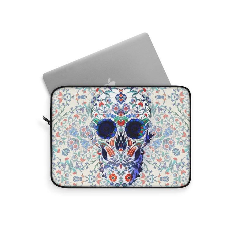 Skull With Flower Macbook Sleeve Floral Skull Laptop Case Boho Skull Print Laptop Cover Gift Sugar Skull Laptop Sleeve