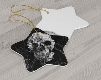 Gothic Christmas Ornament, Ceramic Skull Ornament, Flower Skull Ornament, Gothic Skull Ceramic Gift Tag, Sugar SkullGift