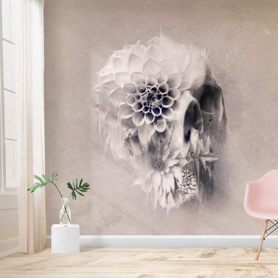 Flower Skull Wallpaper Home Decor Light Floral Skull Art Print Traditional Wallpaper Gothic Wall Mural Sugar Skull Monochrome Wall Art