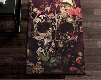 Bloom Skull Dornier Rug, Sugar Skull Rug, Gothic Home Decor Gift, Floral Skull Home Decor, Boho Skull Floor Rug