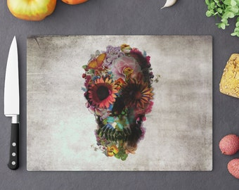 Boho Skull Cutting Board, Tempered Glass Cutting Board, Gothic Floral Skull Kitchen Decor Gift, Sugar Skull With Flowers Home Decor Gift