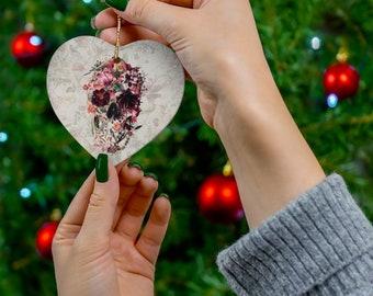 Floral Skull Ornament, Ceramic Christmas Ornaments, Flower Skull Ornament, Gothic Skull Ceramic Gift Tag, Christmas Gift
