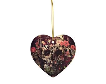 Bloom Skull Ornament, Ceramic Skull Ornaments, Flower Skull Christmas Ornament, Gothic Skull Ceramic Gift Tag, Christmas Ornament Gift