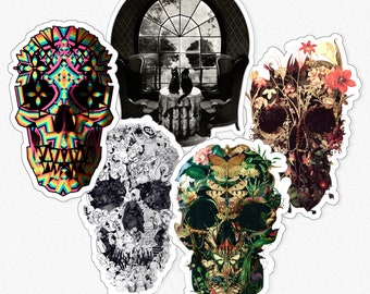Skull Sticker Set Of Five, Skull Art Sticker Set, Gothic Skull Vinyl Sticker Set Gift, Skull Drawing Gift, Laptop Phone Kiss-Cut Sticker Set