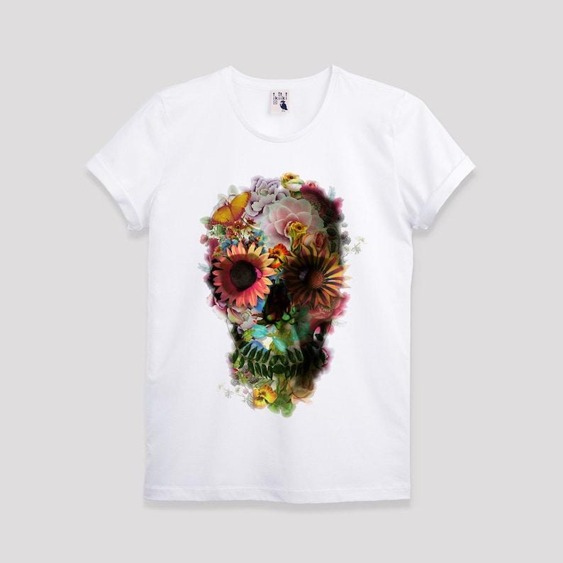 db6a36731809 SALE Floral Skull Men s T-shirt Skull Art Print T shirt