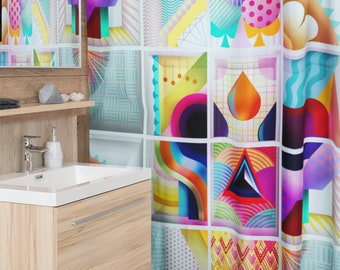 Candy Skull Shower Curtain, Kawaii Skull Shower Curtain Decor, Gothic Sugar Skull Shower Curtain Home Decor, Colorful Skull Bathroom Decor