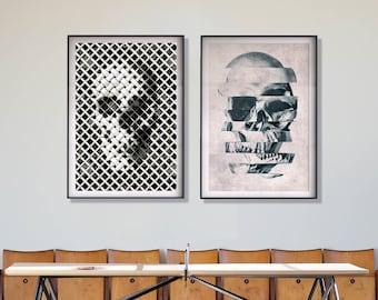 Skull Print Set, Set Of 2 Skull Prints, Modern Skull Home Decor, Abstract Skull Poster, Glitch Art Home Decor, Skull Wall Art Print Gift