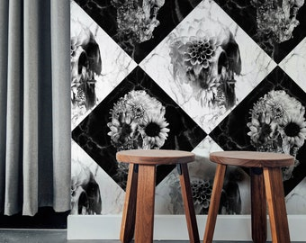 Skull Wallpaper Home Decor, Checkered Skull Art Print Traditional Wallpaper Gift, Marble Pattern Black And White Floral Wallpaper