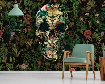 Floral Wallpaper Skull Home Decor, Flower Skull Art Print Traditional Wallpaper, High Quality Colorful Sugar Skull Wallpaper Wall Decor