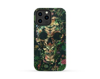 Boho Skull iPhone 13 Case, Floral Skull iPhone Case, Flower Skull Samsung Case, Sugar Skull Phone Case Gift, Gothic Case For iPhone 13 Mini
