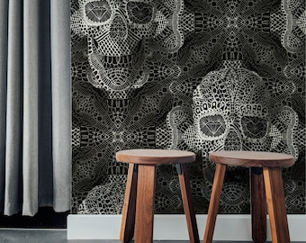 Gothic Wallpaper Home Decor, Sugar Skull Art Print Traditional Wallpaper Gift, Lace Pattern Black And White Floral Wallpaper