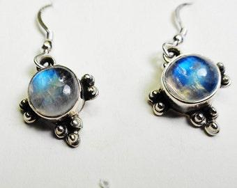 Labradorite Earrings.  9 mm. Round Labradorite Silver Dangle & Drop Earrings.
