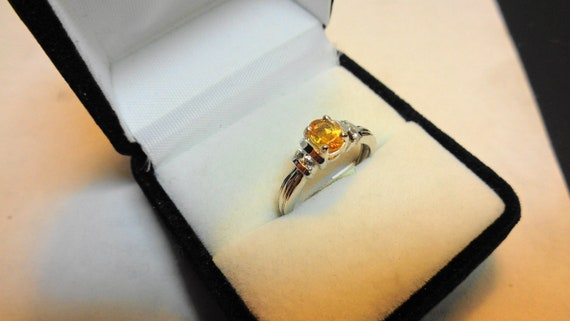 Citrine Ring in Platinum over Silver Ring