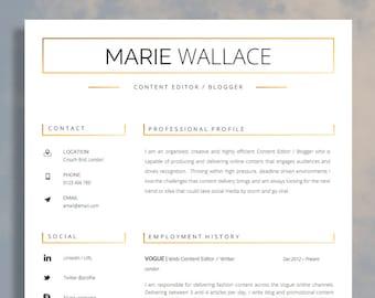 Modern Resume Template Modern CV Template Printable CV For Etsy