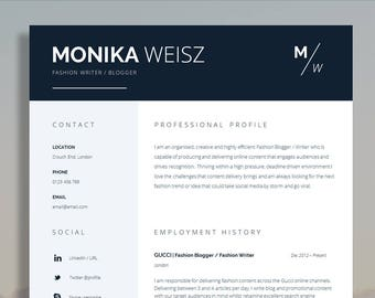 "Creative Resume Template + Cover Letter + CV Guide for MS Word | Creative Resume Template | Instant Digital Download | ""Piccadilly"" Resume"