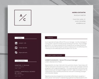 "Professional Resume Template | CV Template + Cover Letter + Application Advice | Creative CV | MS Word | Instant Download | ""Westminster"""
