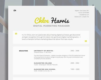 creative cv template matching cover letter application etsy