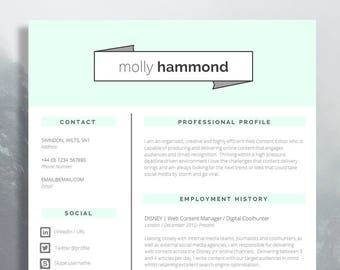 "Creative CV Template | Matching Cover Letter | Application Advice | MS Word | Resume Design / CV Design - Instant Download | ""Fitzrovia"""