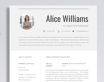 "Resume Template | Creative Resume Template | Professional Resume Design + Cover Letter & Advice | Printable Word Resume | The ""Finsbury"""