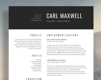 "Professional Resume Template | CV Template | Resume Advice | Cover Letter | Word (Mac or PC) | Instant Digital Download | ""Mayfair"""