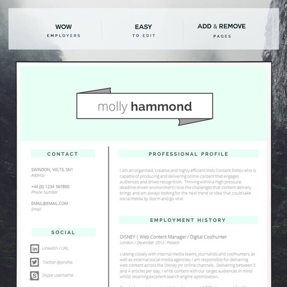 Creative CV Template | Matching Cover Letter | Application Advice | MS Word  | Resume Design / CV Design - Instant Download | "|570|569|?|5f0e4beb3849c8cf9bf44e6be7fa0f52|False|UNLIKELY|0.31731900572776794