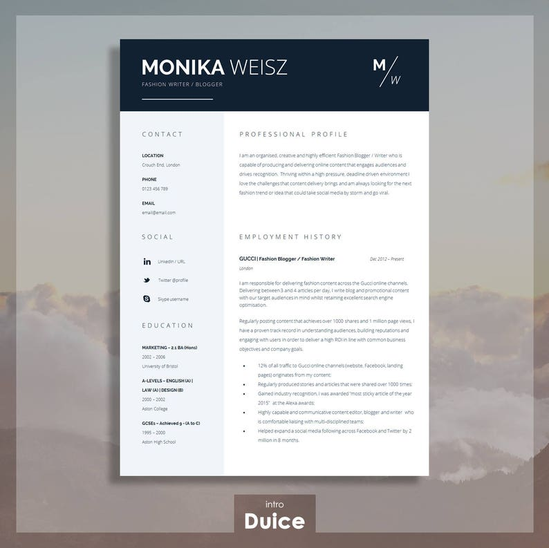 Creative Resume Template Cover Letter Cv Guide For Ms Word Etsy