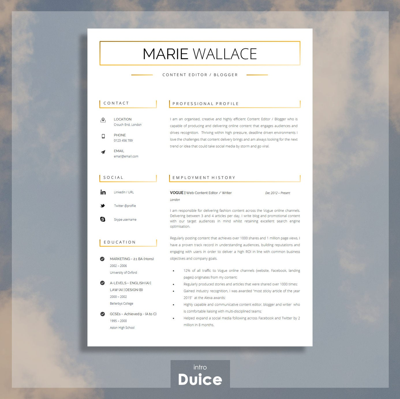 Professional Resume Template for Word Resume Template For | Etsy