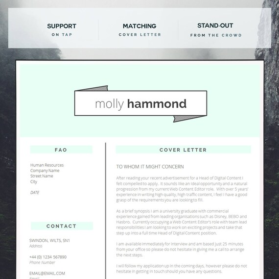 Creative CV Template | Matching Cover Letter | Application Advice | MS Word  | Resume Design / CV Design - Instant Download | "|570|569|?|False|fb4640735c5c840f5ae1e49287dba18c|False|UNLIKELY|0.3142402172088623