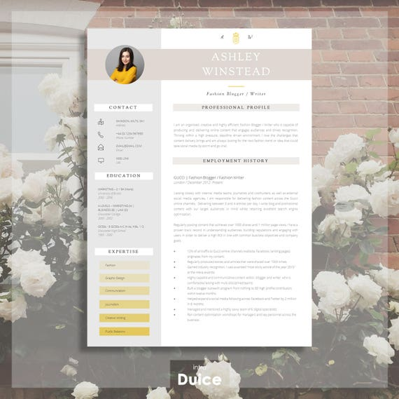 resume template creative resume template two page etsy