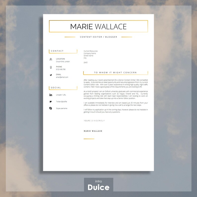 Professional Resume Template For Word Resume Template For Etsy